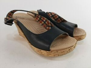 Crocs A-Leigh Wedge Black Leather Sling Back Cork Wedge Shoes Size 7