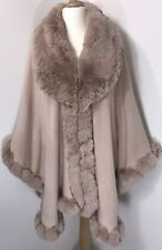 PONCHO CAPE FAUX FUR COLLAR CUFFS PINK PLUS SIZE 16-24 LUXURIOUS SOFT FEEL NEW