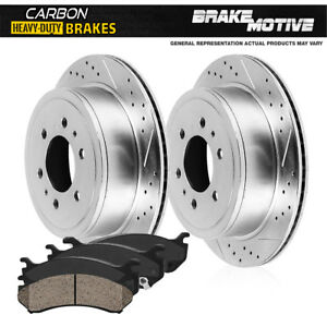 For Ford F150 Lincoln Mark Lt Rear Drill Slot Brake Rotors + Carbon Ceramic Pads