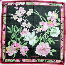 LEONARD PARIS Tuch Schal Foulard  BW Seide schwarz rosa grün NEU