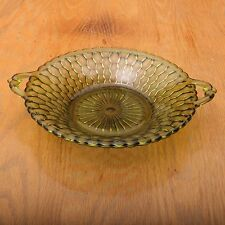 Vintage Indiana Glass Company Green Honeycomb Pattern Double Handle Bowl