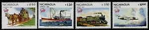 Nicaragua 1157-8, C1005-6 MNH UPU, Aircraft. Train, Ship, Horse & Coach
