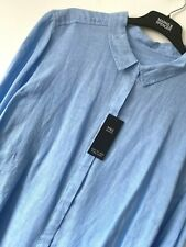 LADIES M&S SIZE 16 18 OR 22 BLUE EASY IRON PURE LINEN SHIRT BLOUSE FREE POST