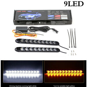 2x Flexible 9 LED Car White / Amber Switchback Turn Signal Arrow Driving Light