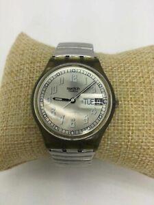 Swatch Swiss Silvertone Date Stretch Wrist Watch