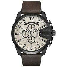 NEW DIESEL Mega Chief White Sunray Dial Brown Leather Chrono Men's Watch DZ4422