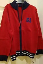 BNWT Mothercare Boy's Red Funnel Neck Zip Through Cardigan Size 7-8 years
