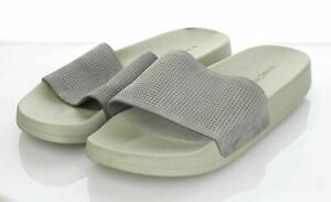 14-14 $150 Men's Sz 11.5 M Vince Winston Suede Perforated Slide Sandal In Gray
