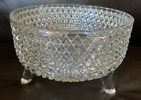 Vintage APB Crystal Cut Stars Hobnail Large Footed Bowl