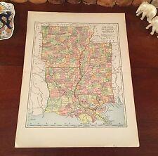 Original 1890 Antique Map LOUISIANA MISSISSIPPI ARKANSAS Monroe LA Jackson MS