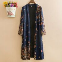 Lady Floral Cardigans Flower Print Oversized Kimono Open Front Ethnic Top Ethnic