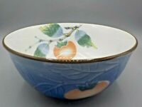 "Beautiful Chinese Blue & White Porcelain Bowl w/Peach Decorations 8"" x 4"""