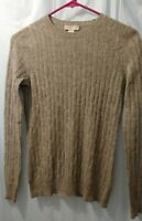 Hayden 100% Cashmere Womens Sweater Size XS Heathered Gray Cable Knit Crew Neck