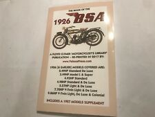 BOOK MANUAL OF THE PRE- 1926/27 BSA 2.49 3.49 4.93 4.98 5.57 7.7 & 9.86hp Models