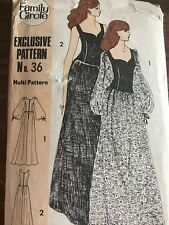 Family Circle no 36 sewing pattern ladies 4 Size Maxi Hippie Dress 1970s Uncut