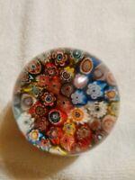 Vtg Murano Millefiori Paperweight Cane Flowers Handblown Art Glass Made in Italy
