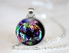 Vintage Tiger Tibetan silver Dome Glass Art Chain Pendant Necklace #TUO577
