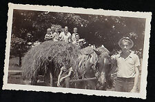 Vintage Antique Photograph People Sitting in Haywagon With Horses Pulling Them