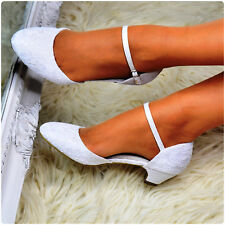 Women Floral Lace Low Mid Heel Shoes Ivory White Ankle Strap Wedding Bridal Size
