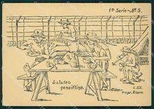 Militari Coloniali Africa Egitto Geneifa D'Elia Serie I PIEGATA cartolina XF3011