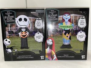Gemmy Jack Skellington with Jack-O'-Lantern Sally Inflatable 5ft Tall Halloween