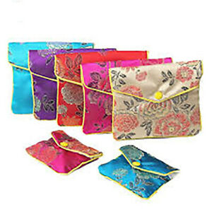 12pcs Jewelry Silk Purse Pouch Chinese Embroidered Brocade Zipper Gift pack