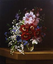 Oil painting Adelheid Dietrich - Blumenstilleben beautiful spring flowers canvas