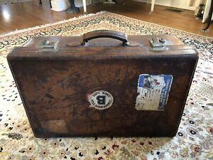 Antique Asprey London Leather Travel Suitcase