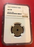 1927 NORWAY 50 O COIN NGC AU 50