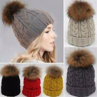 WOMEN LADIES WINTER WARM FUR KNITTED HAT SKI POM BOBBLE BAGGY CROCHET BEANIE CAP