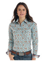 Panhandle Slim Women's Turquoise & Brown Vintage Print Shirt R4S1502 R4X1502
