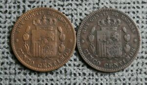 1877 & 1878 ~ 2 x 5 Centimos ~ Spain ~ Alfonso XII ~ Fine Condition