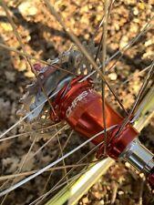 "Chris King 26"" Wheelset Red Hubs Gold Mavic 517 Rims Retro Mountain Bike RARE"