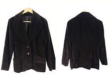 Vintage 1990s Chocolate Brown Velvet 2 Button Blazer Smoking Jacket - Size 10/12
