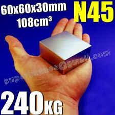 Bloque 60 x 60 x 30 mm. Fuerza 240 kg. Imanes de Neodimio