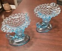 2 Unmarked Blue Hobnail Glass Cornucopia Candle Holders  Fenton?
