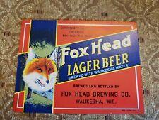 Vintage Fox Head Lager Waukesha Beer Bottle Label New Old Stock