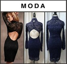 MODA International Sexy Open Back Lace Dress - Navy Blue - SIZE SM