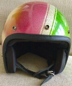 Vintage 1971 Arctic The Cat metal flake snowmobile helmet Green Pink Air Brush