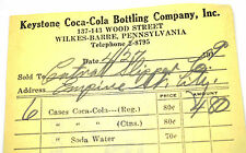 Coca-Cola PILOTE bestellschein USA années 1940 FEUILLE Keystone bottling CO