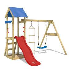WICKEY Spielturm Kletterturm TinyCabin Rote Rutsche Schaukel Garten Kinder Holz