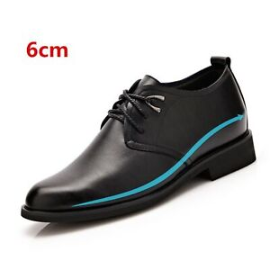 """6cm/2"""" Taller Mens Oxford Invisible Height Sole Increase Elevator Shoes Lace Up"""