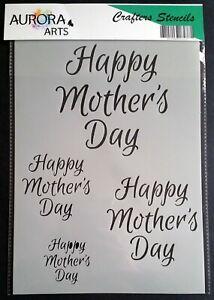 Stencil by Aurora Arts A4 Happy Mothers day set 190mic Mylar craft stencil 190