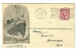 """Railway Pictorial NNC1  """"S.S. Huronic"""" Sarnia, Ont. 1908"""