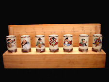 """2"""" H MARKED Kutani Kazan JAPANESE SHOWA PERIOD KUTANI 7 GODS SAKE CUP SET / 7"""
