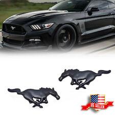 2PCS Metal Black Running Horse Emblem Side Fender Badge Sticker For Ford Mustang