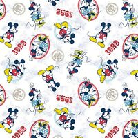 Disney Mickey & Minnie Ideal Couple on White 100% Cotton fabric by the yard