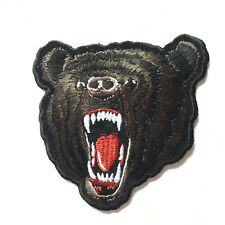 Embroidered  Black Grizzly Bear Sew or Iron on Patch Biker Patch