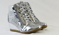 Women Fashion Glitter Hidden Mid Heels Wedge Sneakers Lace Up Shiny Shoes