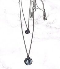 Tibetan silver coin amulet layered necklace. Boho/hippy/gypsy/vintage/antique